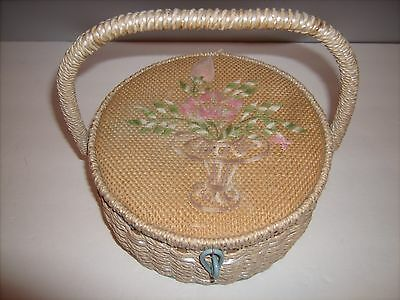 Vtg Dritz Round Wicker Sewing Basket w/ Handle Emboidered Flower Top Silk Lined