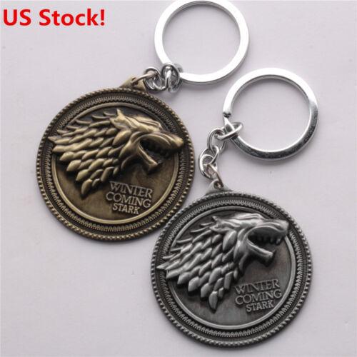 US SHIP Vintage Game of Thrones House Stark Keychain Wolf Head Metal Keyring
