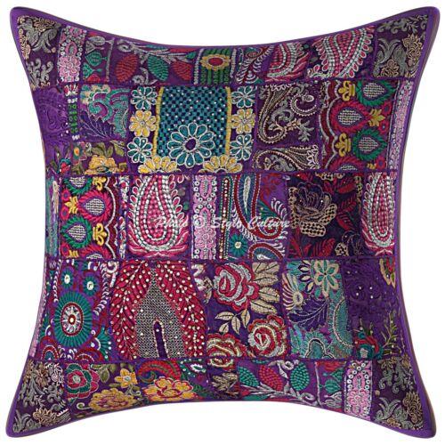 Indian Cotton Pillow Covers Purple 24x24 Vintage Patchwork Boho Cushion Covers