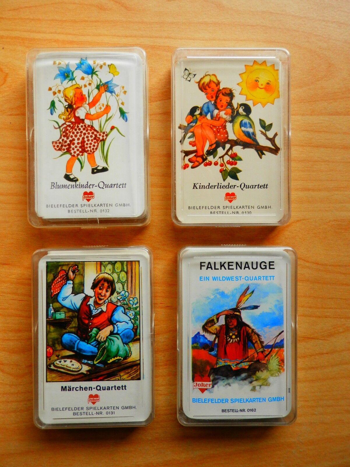 4 Kinder-Quartette Falkenauge Kinderlieder Märchen Blaumenkinder  Bielefelder TOP