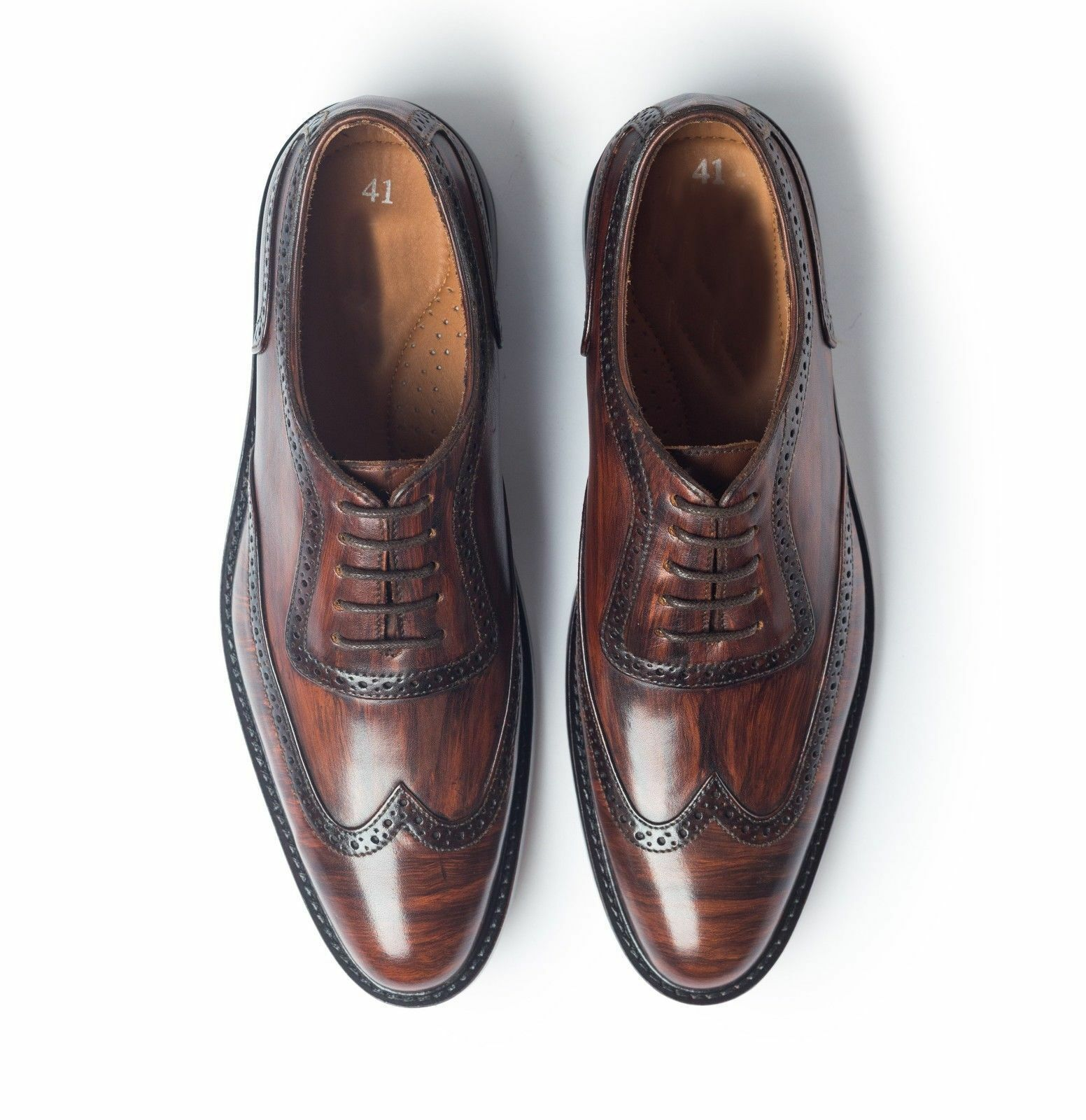 Handmade Wing Tip Oxford Derby Pelle Shoes Uomo, Hand Stitched Formal Two Tone Formal Stitched 710eba
