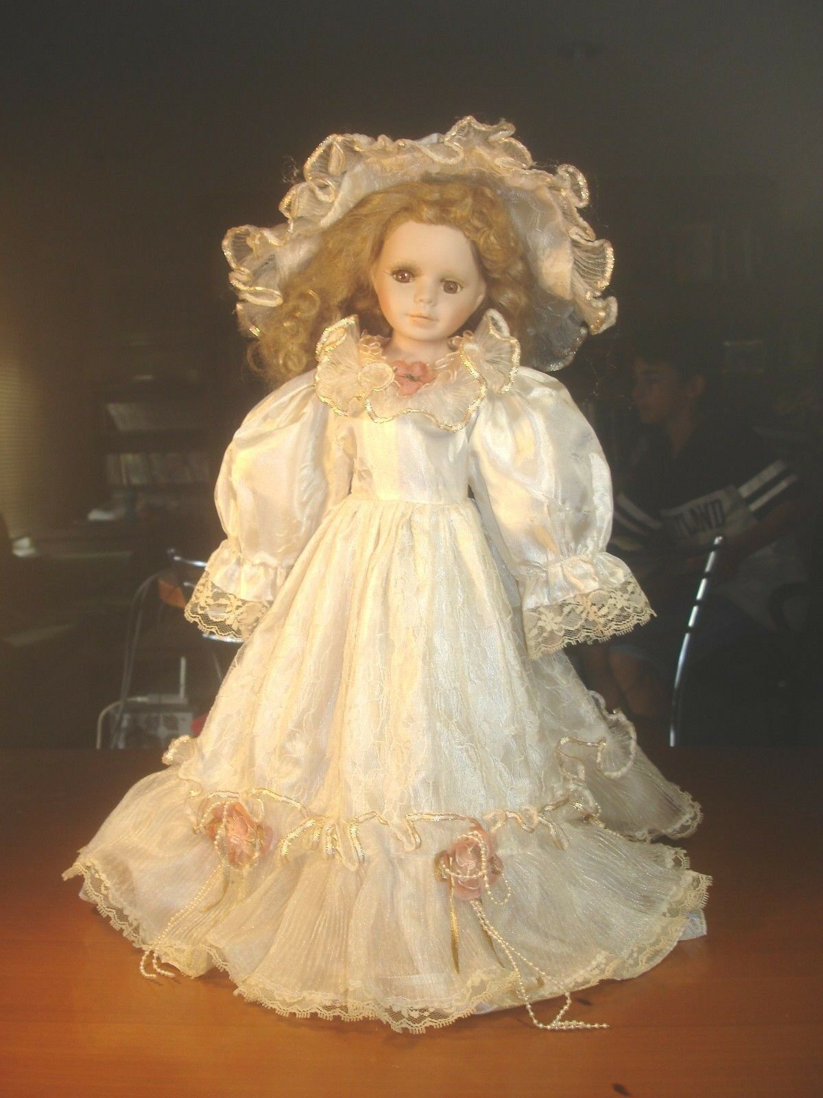 VINTAGE COLLECTIBLE PORCELAIN DOLL WITH bianca DRESS 42 cm 16.5 in. FROM GREECE