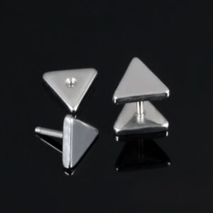 Smooth-Triangle-Silver-Black-Gold-GP-Surgical-Stainless-Steel-Stud-Earrings-Gift