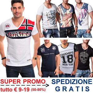 T-Shirt-Uomo-Slim-Fit-Maglietta-Aderente-Elasticizzata-con-Disegni-Maniche-Corte