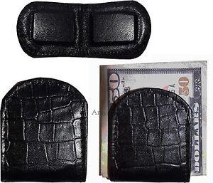 Lot-de-3-Neuf-Noir-Crocodile-Imprime-Cuir-Unbranded-Argent-Pince-Pince-Argent-Bn