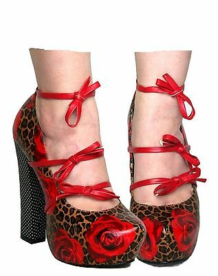 TOO FAST MARY JANE LADIES PLATFORM BLOCK HEELS ROSE & LEOPARD PRINT RED (R3B)
