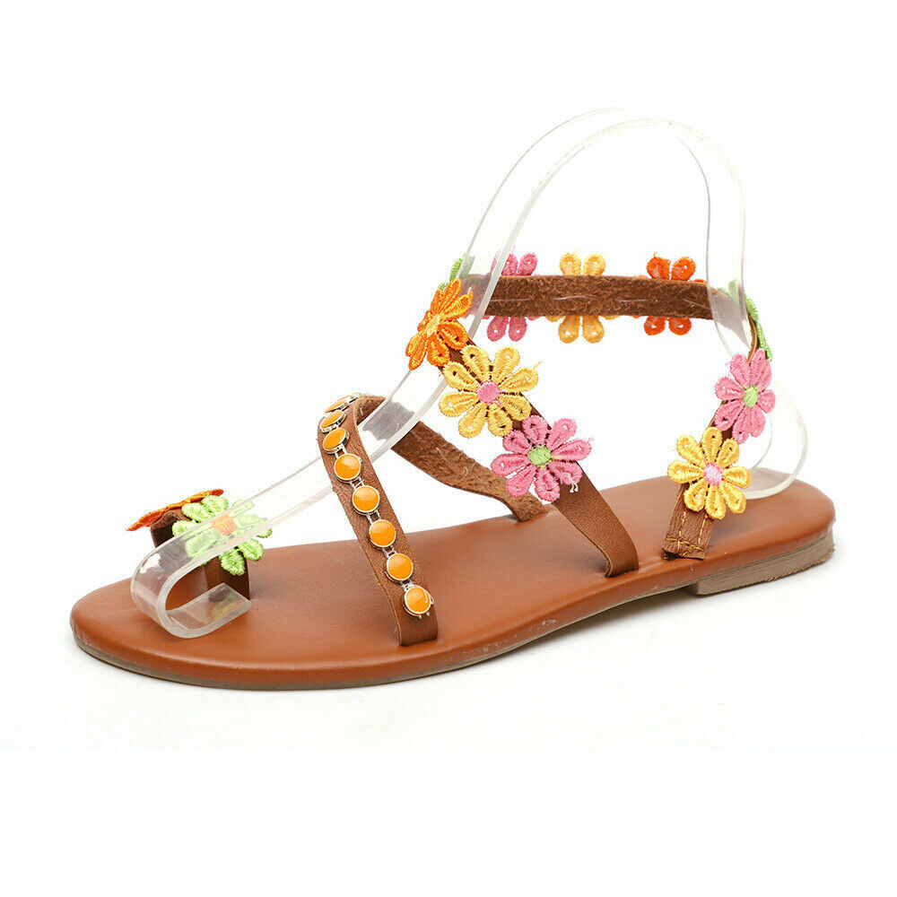 Femmes Boho Fleur Sandales Tongs Femme Été Plage Vacances Plat Chaussures Taille