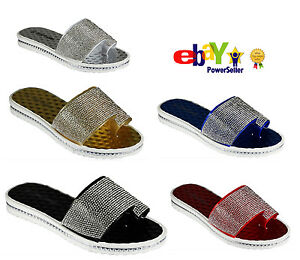 e0cd36e5da975 Ladies Women Girl Sandals Summer Beach Diamante Flip Flop Fancy Flat ...