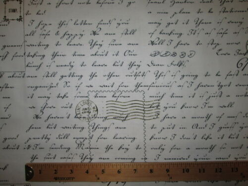 VINTAGE SCRIBE WRITING POST MARKS COTTON FABRIC FQ
