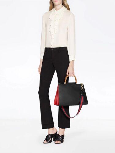GUCCI Bamboo Medium Nymphaea Top Handle Bag Black