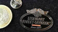 Harley Davidson Logo Pin Badge Legendary schwarz silber