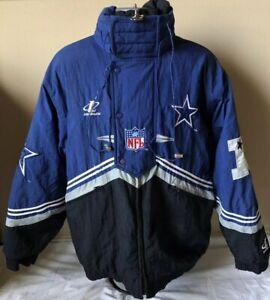 various colors e8a4d bc681 Details about Vintage NFL Dallas Cowboys Puffer Coat Hood Jacket Men Pro  Line Logo Athletic L