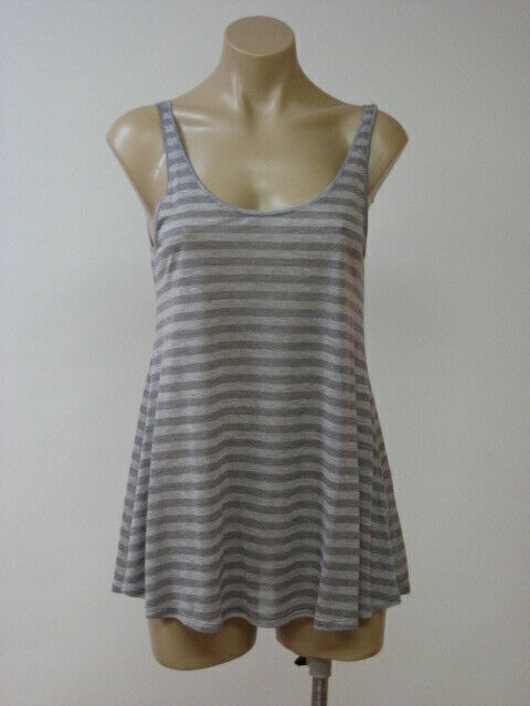 EILEEN FISHER Dark Pearl Striped Micromodal Scoop Neck Tank Top Medium M NWT