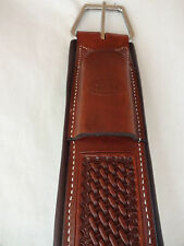 Billy Cook Leather Cinch Padded Western Straight 34 Horse Basket Stamped Dk Oil