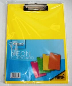 Yellow Clipboard A4 Neon Colour Office Document Storage Paper Holder 9 x 12 inch