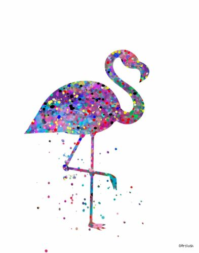 Pop Art Print PINK FLAMINGO Colorful Abstract Watercolor Splatter Nature Water