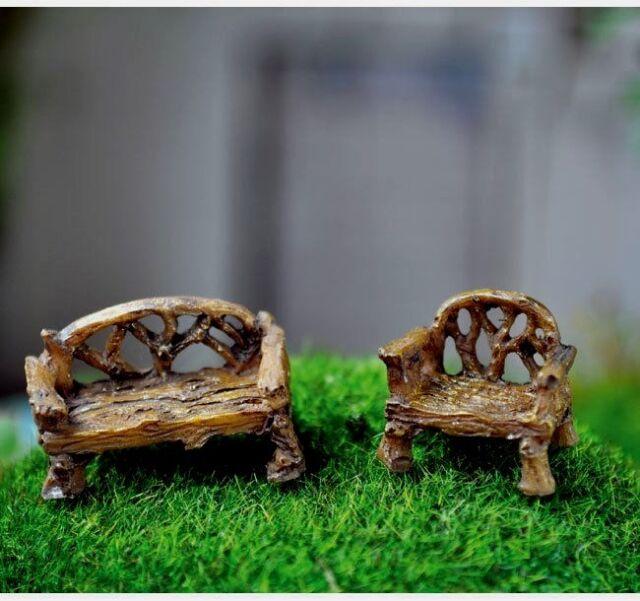 Micro Mini HO Scale Bench Chair  2 Pc Dollhouse Miniature Fairy Gnome GO 16575
