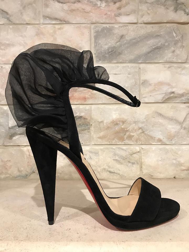 NIB Christian Louboutin Jacqueline De 120 Black Suede Ankle Heel Pump 36.5  1095