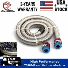 3ft An6 38 Universal Stainless Steel Braided Fuel Oil Gas Line Hose With Clamps
