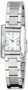 Ladies-Charles-Hubert-Stainless-Steel-White-Dial-20mm-Rectangular-Watch