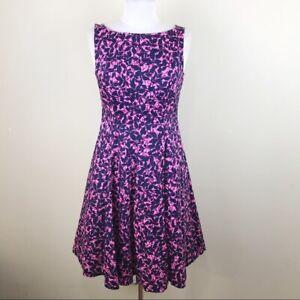 Maggy-London-Floral-Pink-Purple-Fit-amp-Flare-Dress-Romantic-Size-6