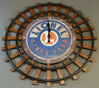 Lionel Railroad Clock Train Room Sign Battery Powered Logo Rr Track 9-33044