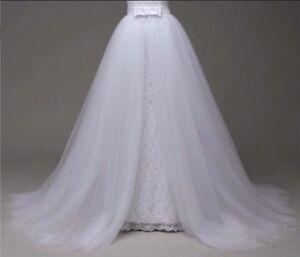 UK-White-ivory-Just-Detachable-Train-Wedding-Dress-Skirt-Size-6-20