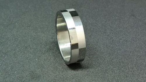 5 damas y hombres de acero inoxidable gris plata Dedo anular anillo F