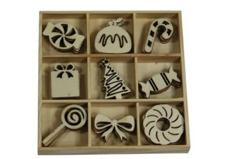 Craft Emotions BOX OF WOODEN SHAPES ORNAMENTS Sweets Vintage Christmas 45pc 0331