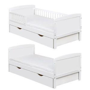 Kinderbett weiß mit schubladen  Kinderbett Juniorbett Massivholz in Weiss 140x70cm inkl.Schublade ...