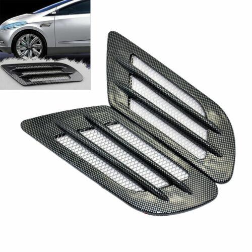 1Pair Car Side Air Vent Fender Cover Grille Decor Sticker Carbon Fiber Pattern