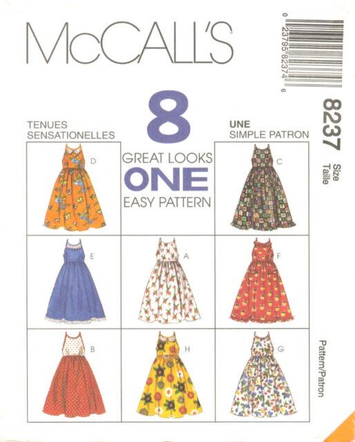 Mccalls 8237 Girls Easy Pullover Dress Sundress Sewing Pattern Cf 4