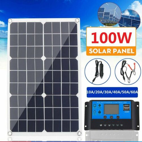 100W Solar Panel kit 12V battery Charger 10A//20A//30A Controller Caravan Boat RV