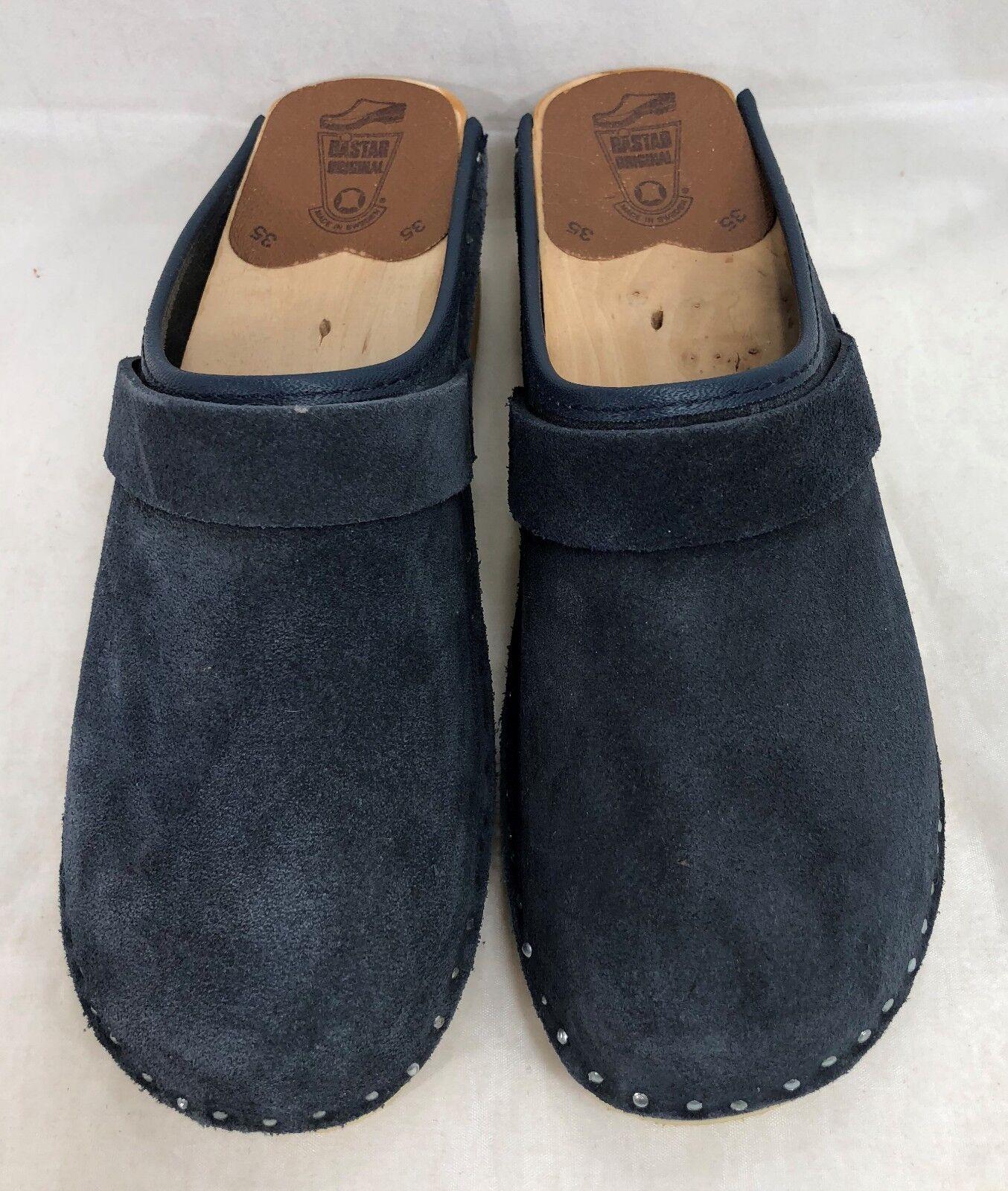 Troentorp Bastad Swedish Clogs Suede Suede Suede Blau Leather Größe 35 US 4-4.5 3a1f1a