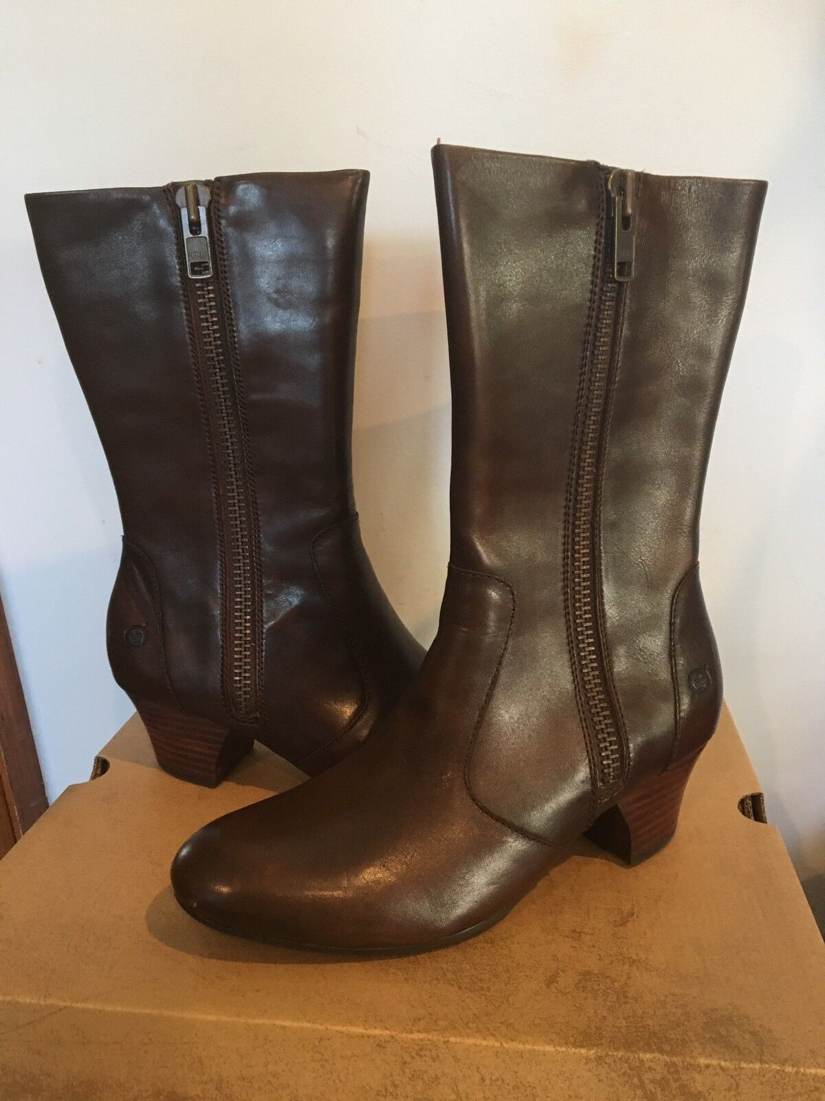 Born Low Heel Outside Zip on Boot Gelsey Brown Cognac Leather Size 7.5 M