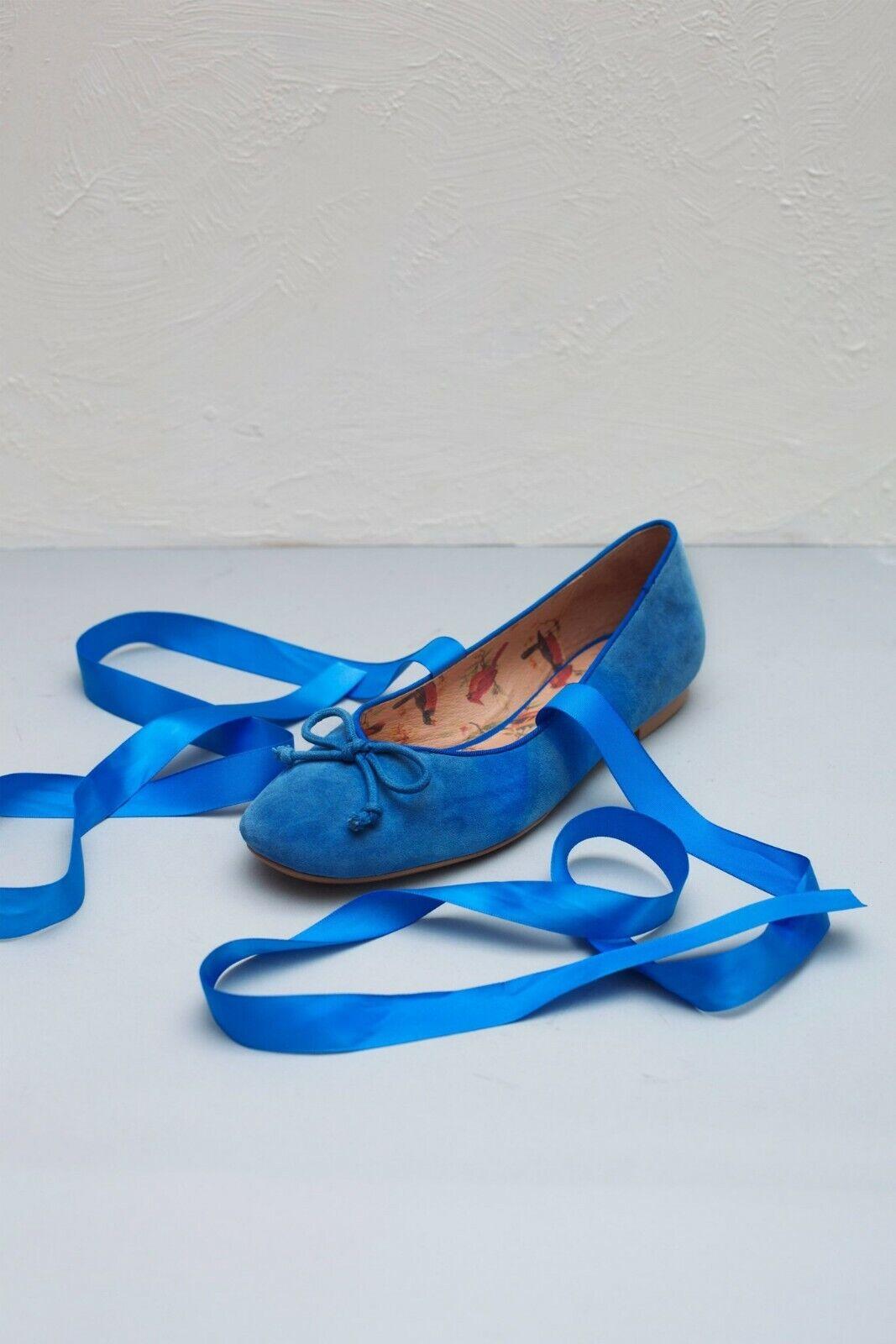 Miss L Fire MARGOT 40 blueE leather ballerina ballerina ballerina pumps Retro VTG style ff5605