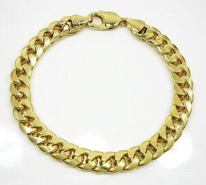 17-50Grams-9-3mm-8-50-034-Mens-10k-Yellow-Real-Gold-Curb-Cuban-Miami-Bracelet