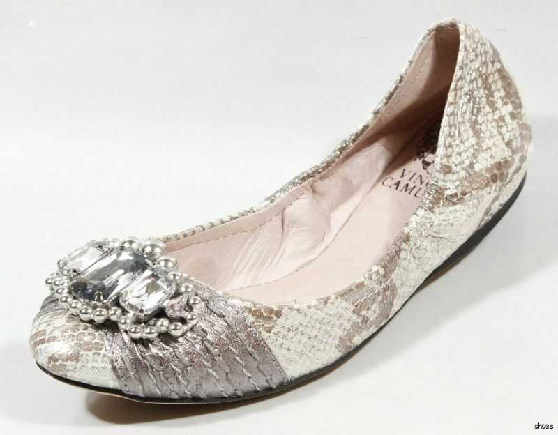 New VINCE CAMUTO silver snake JEWELED flats shoes 6 - super cute
