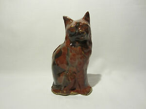 ANCIENNE-TIRELIRE-A-CASSER-CHAT-ASSIS-GRES-EMAILLE-ZOOMORPHE-MONEYBOX-PIGGY-BANK