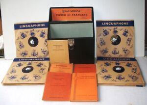 LINGUAPHONE-CORSO-DI-FRANCESE-50-LEZIONI-16-DISCHI-78-GIRI-VINTAGE