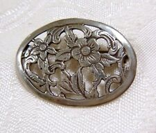 Vintage Sterling Silver Open Work Oval Pin/Brooch Flowers & Scrolls