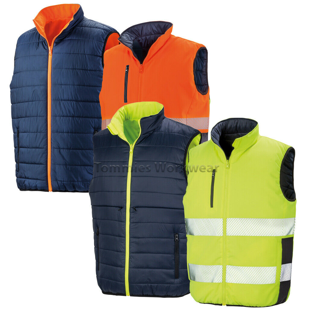 Result Reversible Hi Vis Bodywarmer Soft Padded Reflective Safety Gilet (R332X)