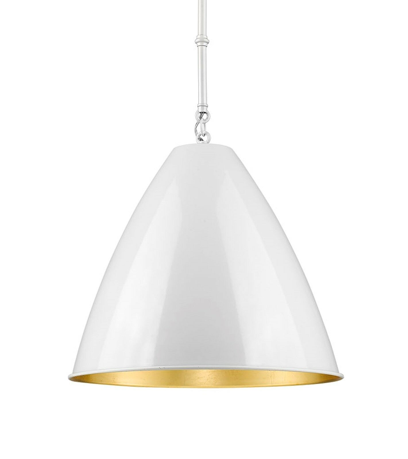 1-Light Industrial 15 D Cone Pendant Mid-Century Modern Weiß &Gold Leaf Kitchen