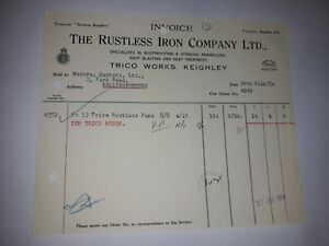 1954 The Rustless Iron Co Ltd, Trico Works, Keighley invoice  Dexters w'boro