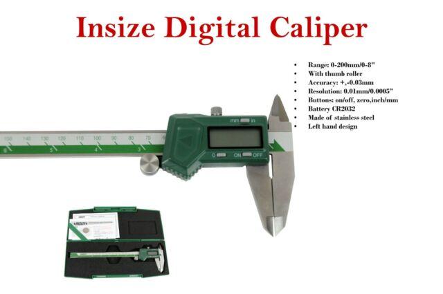 "Insize Left hand digital caliper 0 - 200mm / 0 - 8"" (1130-200) battery included."