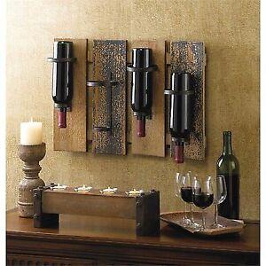 Wall Mounted Rustic Wine Rack Bottle Holder Bar Kitchen Hold 4 Bottles10015543