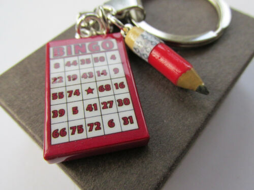 Handmade Bingo Miniature Fun Bingo Card /& Pencil Charm Gift Keyring Boxed