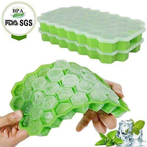 Ice Cube Trays With Lids,Bomstar 2 Pack Food Grade Silica Gel Flexible 74 Ice Tr