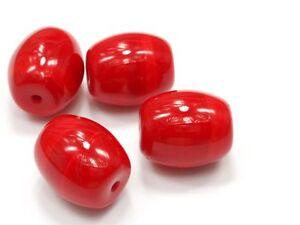 7-Boehmische-Glasperlen-13x11mm-Ruby-Rot-Opak-Olive-Perlen-Czech-Glassbeads-A663