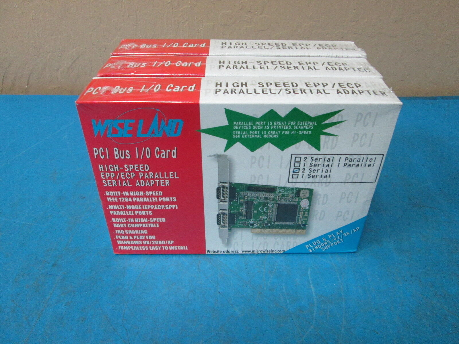 LOT OF 3 Micro Wise PCI Bus I/O Card High-Speed EPP/ECP Parallel/Serial Adapter